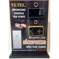 ESPOSITORE CON SPIONCINI LCD VI.TEL espositore da banco
